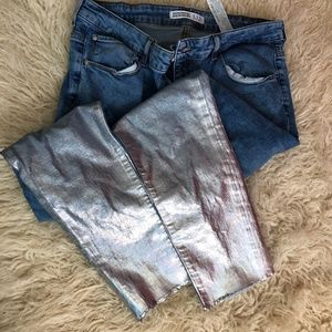 ✨Zara Cropped Skinny Jeans metallic Silver dipped